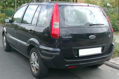 Ford Fusion Aussenansicht Heck schräg statisch schwarz