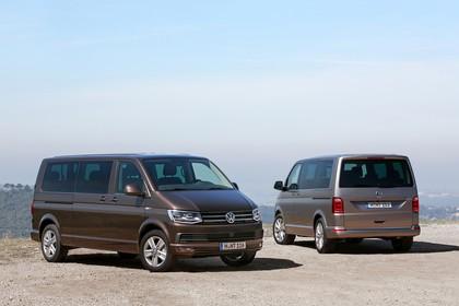 VW T6 Caravelle SG/SF Aussenansicht Front Heck schräg statisch braun beige