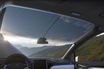 Tesla Model X Innenansicht Panoramafrontscheibe
