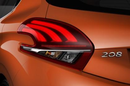 Peugeot 208 A9 Aussenansicht Heck schräg statisch Studio Detail Rückleuchte links 208 Schriftzug