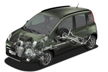 Fiat Panda 4x4 319 Aussenansicht Front schräg statisch Studio Infografik Allradsystem grün