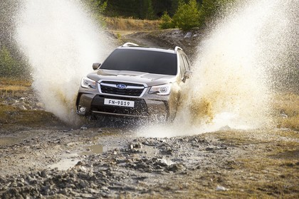 Subaru Forester IV SJ Aussenansicht Front schräg dynamisch braun
