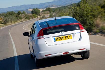 Honda Insight Aussenansicht Heck dynamisch weiß