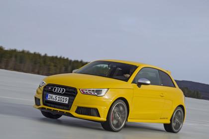 Audi S1 Aussenansicht Front schräg dynamisch gelb