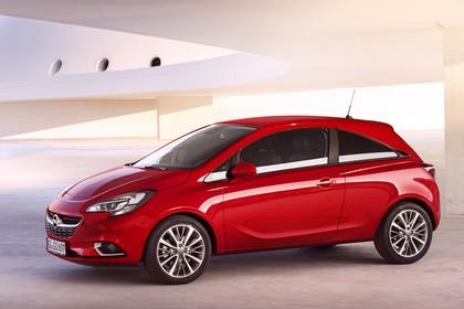 Opel Corsa E Dreitürer Aussenansicht Seite statisch rot