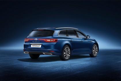 Renault Talisman Grandtourer (RFD) Aussenansicht Heck schräg statisch Studio blau