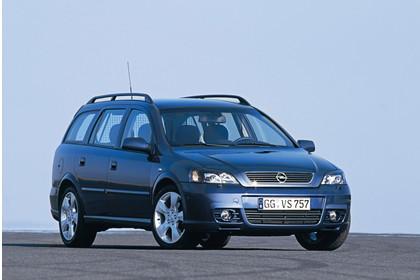 Opel Astra G Caravan Facelift Ausssenansicht Front schräg statisch blau