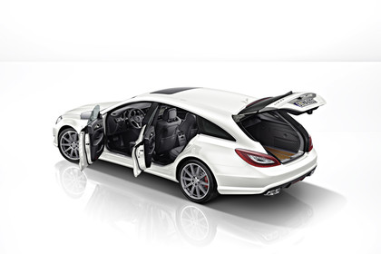 Mercedes-AMG CLS  Shooting Brake X218 Aussenansicht Seite erhöht Studio statisch weiss