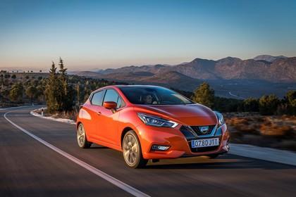 Nissan Micra K14 Aussenansicht Front schräg dynamisch orange