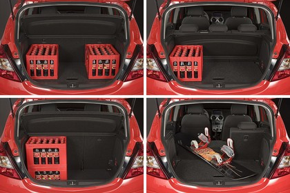 Opel Corsa D Aussenansicht Kofferraum geöffnet beladen statisch rot