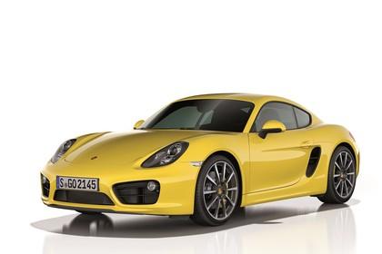 Porsche Cayman (981) Aussenansicht Front schräg Studio statisch gelb