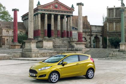 Ford Fiesta JA8 Dreitürer Ausenansicht Seite schräg statisch gold