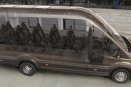 Ford Transit Jumbo Kombi Mk7 Aussenansicht Seite schräg statisch braun Innenraum