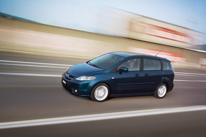 Mazda 5 Aussenansicht Seite schräg dynamisch dunkelblau