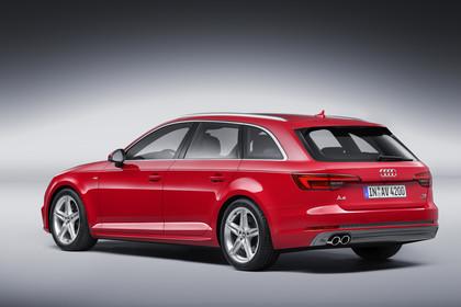 Audi A4 B9 Avant Aussenansicht Heck schräg Studio statisch rot