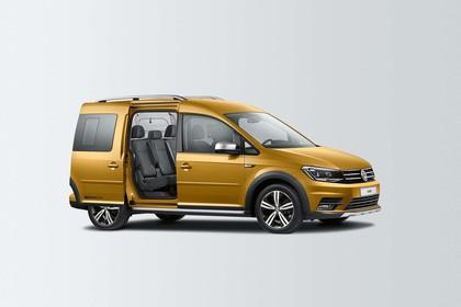 VW Caddy 4 Alltrack Aussenansicht Seite Schiebetür geöffnet statisch gold