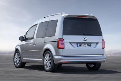 VW Caddy 4 Aussenansicht Heck schräg statisch silber