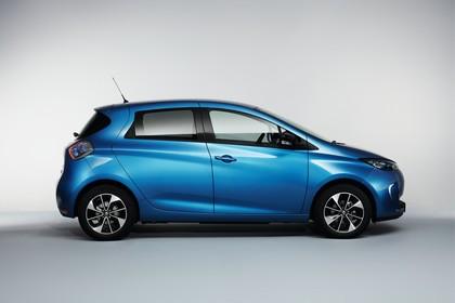 Renault ZOE Aussenansicht Seite statisch Studio blau