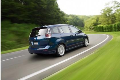 Mazda 5 Aussenansicht Heck schräg dynamisch dunkelblau