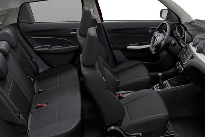 Suzuki Swift AZ Innenansicht statisch Studio Rücksitze Vordersitze und Armaturenbrett beifahrerseitig