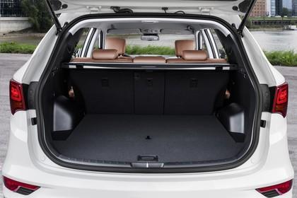 Hyundai Santa Fee DM Innenansicht Detail statisch weiß schwarz Kofferraum