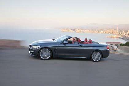 BMW 4er Cabrio F33 Aussenansicht Seite dynamisch grau