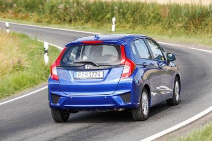 Honda Jazz GK Aussenansicht Heck schräg dynamisch blau