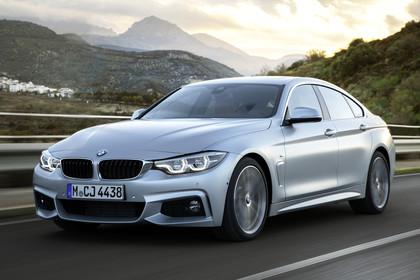 BMW 4er Gran Coupe F36 Aussenansicht Front schräg dynamisch silber