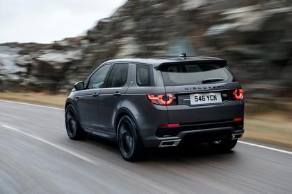 Land Rover Discovery Sport L550 Aussenansicht Heck schräg dynamisch grau