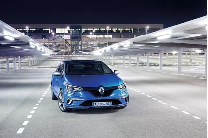 Renault Megane IV Aussenansicht Front schräg statisch blau