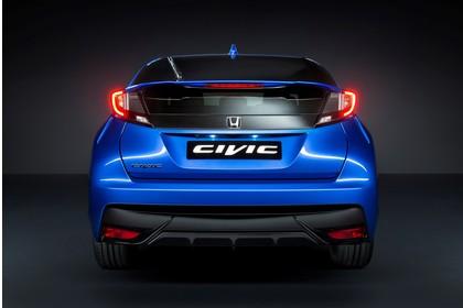 Honda Civic 9 Fünftürer Aussenansicht Heck statisch Studio blau