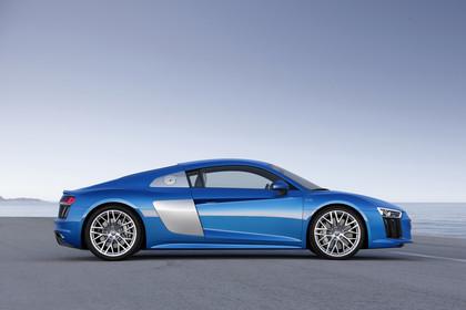 Audi R8 Coupe Aussenansicht Seite statisch blau