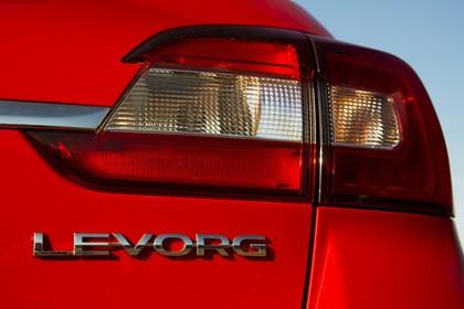 Subaru Levorg Aussenansicht Heck schräg statisch Detail Rückleuchte rechts und Levorg Schriftzug
