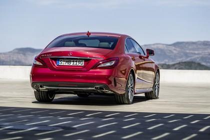 Mercedes-Benz CLS C218  Aussenansicht Heck schräg statisch rot