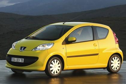 Peugeot 107 P Dreitürer Aussenansicht Seite schräg statisch gelb