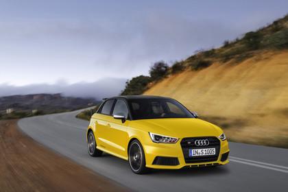 Audi S1 Sportback Aussenansicht Front schräg dynamisch gelb