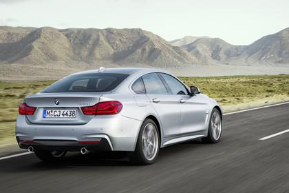 BMW 4er Gran Coupe F36 Aussenansicht Heck schräg dynamisch silber