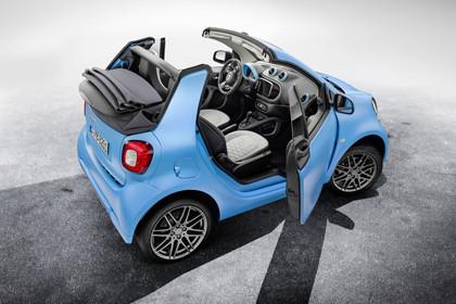 Smart Fortwo Cabrio 453 Aussenansicht Heck schräg erhöht statisch blau
