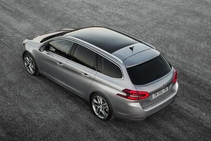 Peugeot 308 SW T9 Aussenansicht Heck schräg erhöht statisch silber