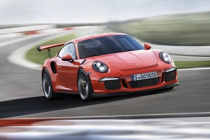 Porsche 911 GT3 RS 991.2 Aussenansicht Front schräg dynamisch rot