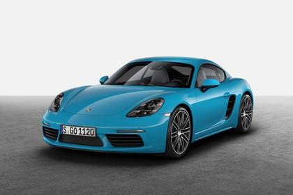 Porsche 718 Cayman S 982 Aussenansicht Front schräg statisch Studio blau