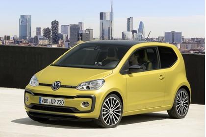 VW UP! Aussenansicht Front schräg statisch gold