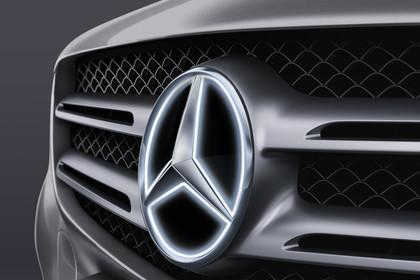 Mercedes GLX X253 Aussenansicht Dateil Mercedes Stern beleuchtet statisch schwarz