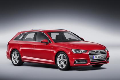 Audi A4 B9 Avant Aussenansicht Front schräg Studio statisch rot