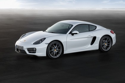 Porsche Cayman (981) Aussenansicht Seite schräg statisch weiss
