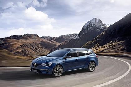 Renault Mégane Grandtour IV Aussenansicht Seite schräg dynamisch blau