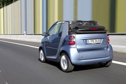 Smart Fortwo Cabrio A451 Aussenansicht Heck schräg statisch blau