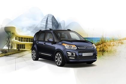 Citroën C3 Picasso SH Aussenansicht Front schräg statisch Studio blau
