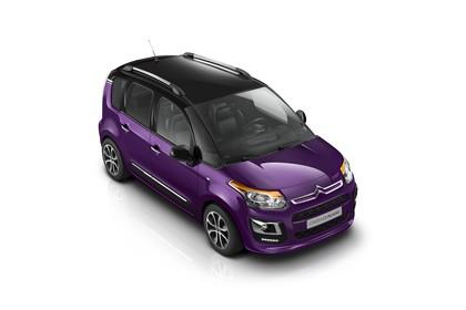 Citroën C3 Picasso SH Aussenansicht Front schräg erhöht statisch Studio violett