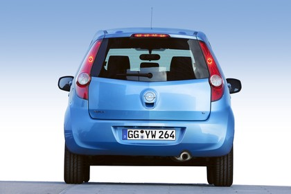 Opel Agila H-B Aussenansicht Heck statisch blau